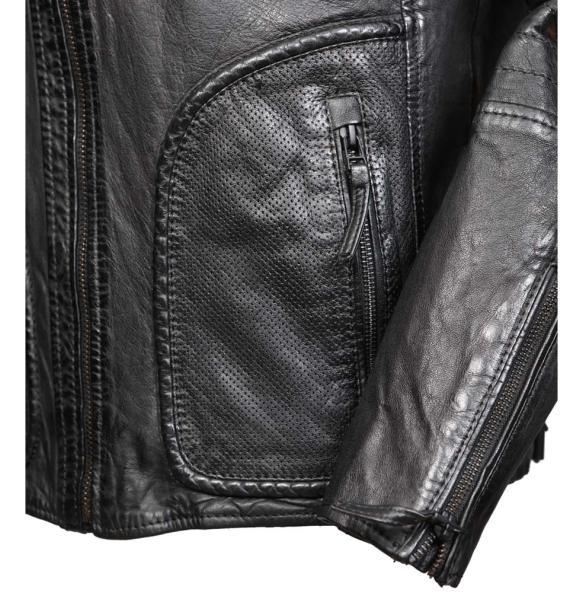 Δερμάτινο μπουφάν JEFF Μαύρο