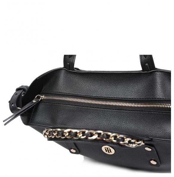 Τσάντα TOMMY HILFIGER Chain Tote Μαύρη