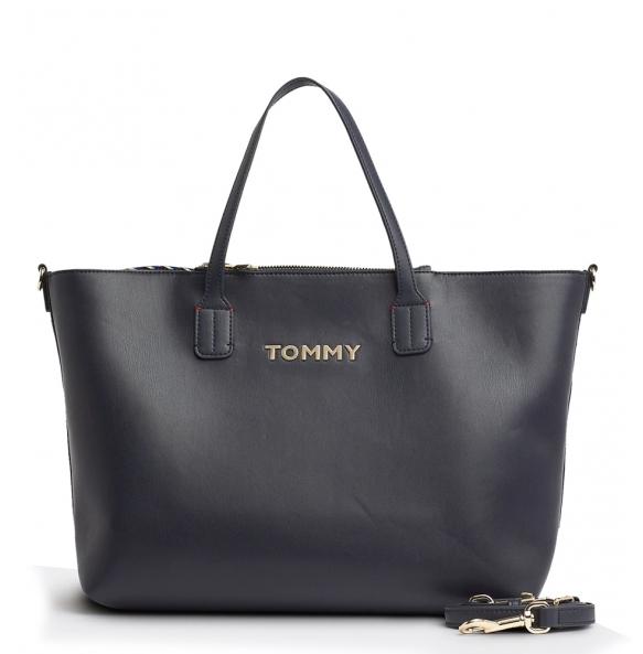 Τσάντα TOMMY HILFIGER 7353 Iconic Tommy Satchel Μαύρο