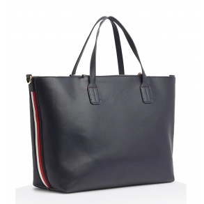 Τσάντα TOMMY HILFIGER 7353 Iconic Tommy Satchel Μαύρο
