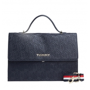 Τσάντα TOMMY HILFIGER 8152 Embossed Monogram Μπλε