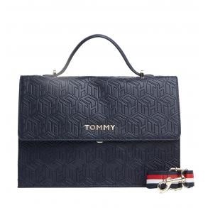 Τσάντα TOMMY HILFIGER 8152 Embossed Monogram Μπλε