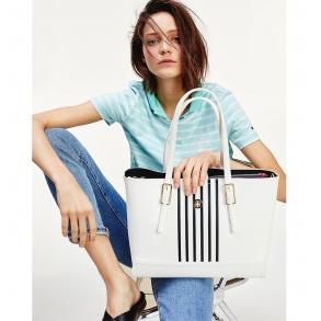 Τσάντα TOMMY HILFIGER 8330 Stripe Med Tote Λευκό