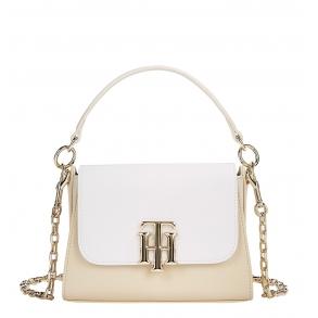 Τσάντα TOMMY HILFIGER 9655 TH Lock Μπεζ/Λευκό