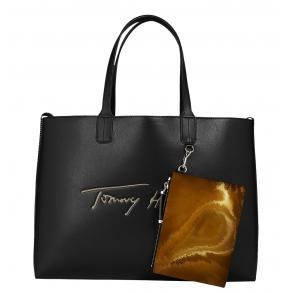 Τσάντα TOMMY HILFIGER 10457 Iconic Signature Μαύρο