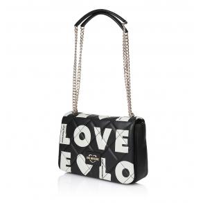 Τσάντα LOVE MOSCHINO 4293 Καπιτονέ Μαύρο/Λευκό