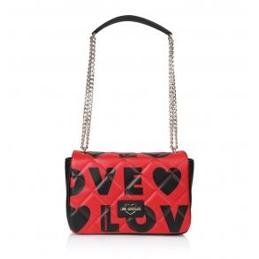 Τσάντα LOVE MOSCHINO 4293 Καπιτονέ Μαύρο/Κόκκινο