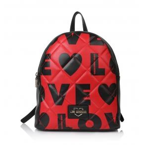 Σακίδιο LOVE MOSCHINO 4295  Καπιτονέ Μαύρο/Κόκκινο
